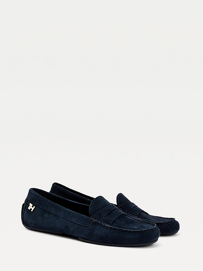 blue essential suede moccasin shoes for women tommy hilfiger