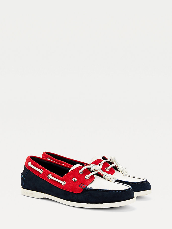 blue essential suede boat shoes for women tommy hilfiger