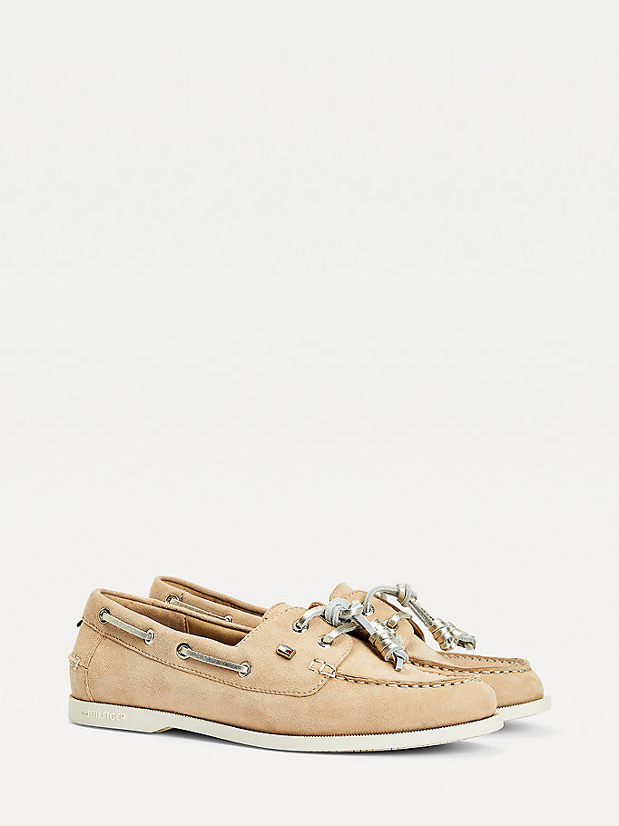 beige essential suede boat shoes for women tommy hilfiger