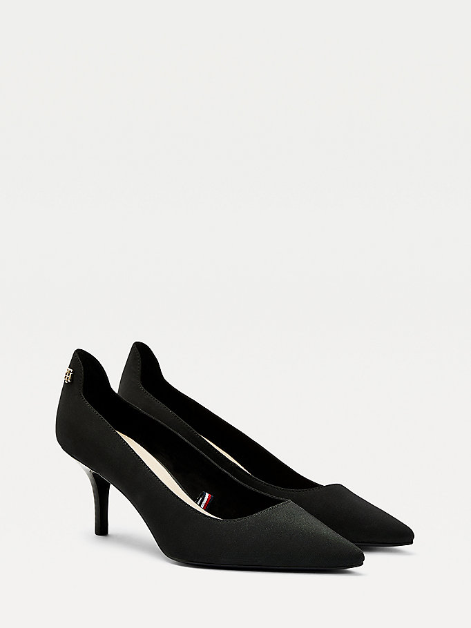 black essential mid heel shoes for women tommy hilfiger
