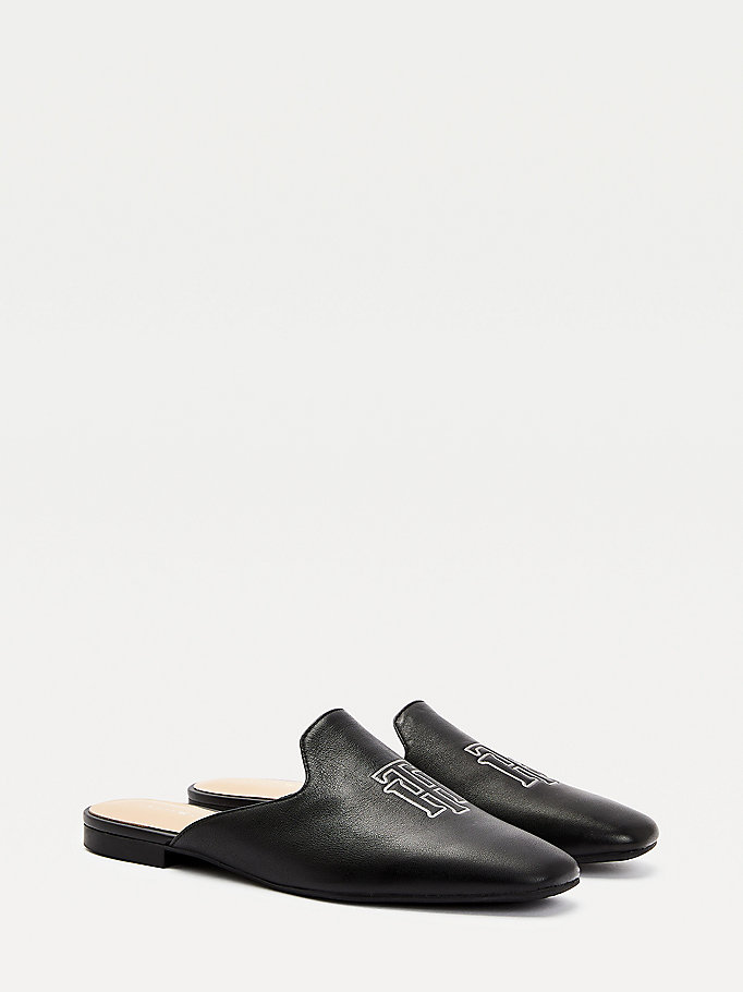 black monogram leather flat mules for women tommy hilfiger