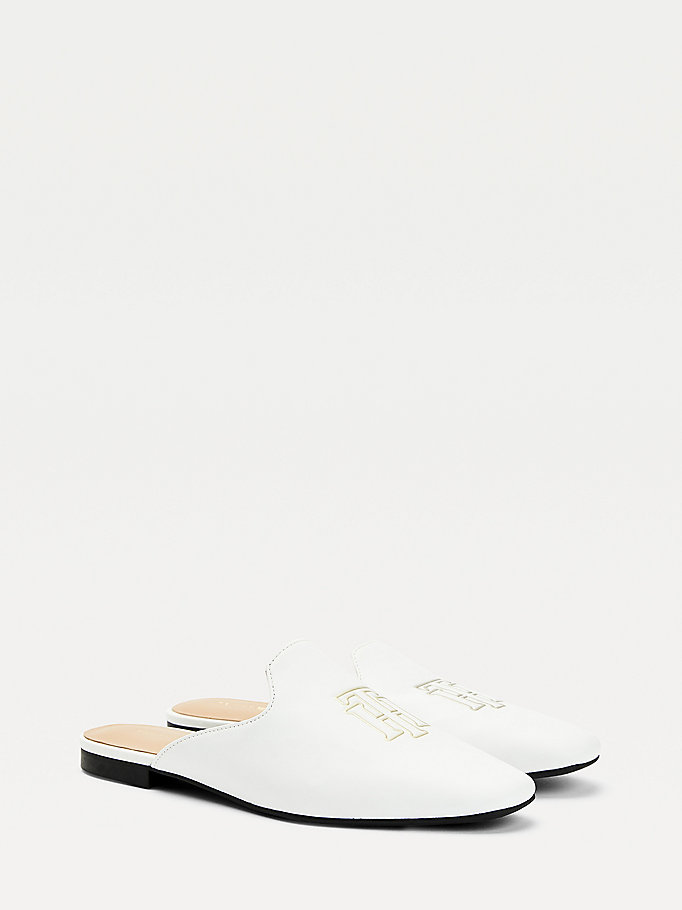 white monogram leather flat mules for women tommy hilfiger