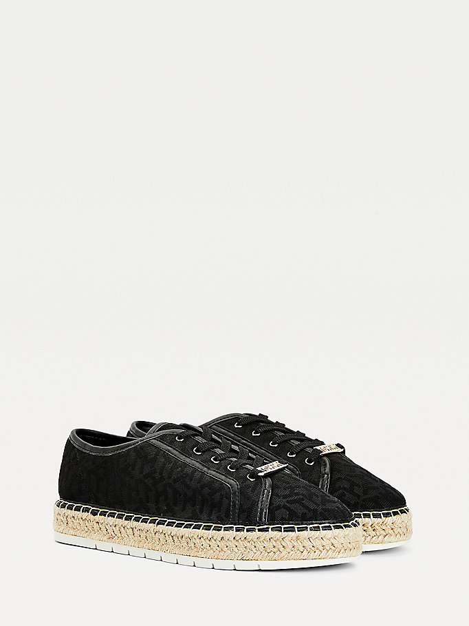 black mesh lace-up espadrilles for women tommy hilfiger