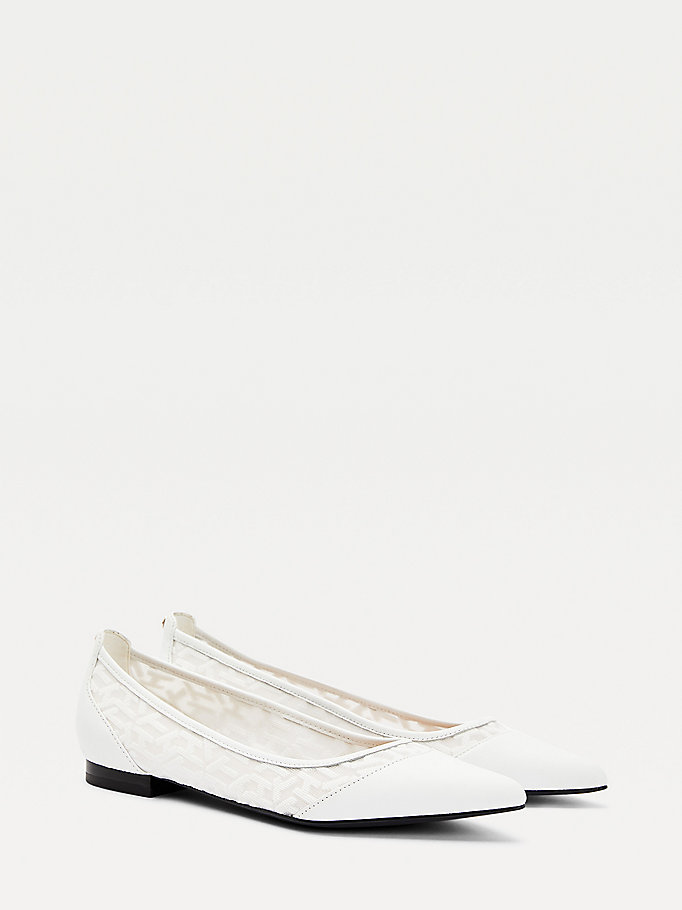 white mesh pointed ballerina flats for women tommy hilfiger
