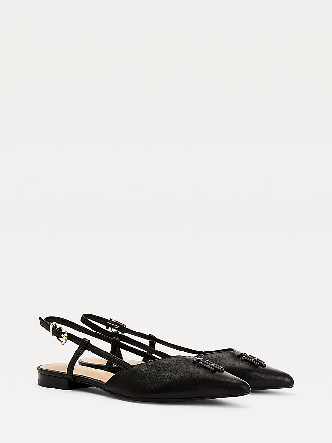 black leather strappy ballerina flats for women tommy hilfiger