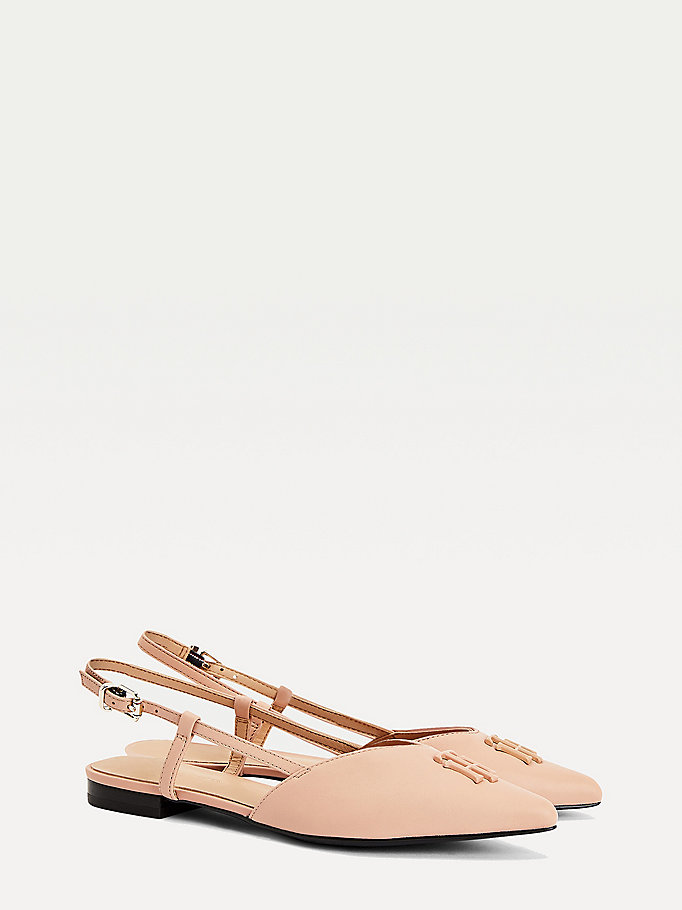 pink leather strappy ballerina flats for women tommy hilfiger