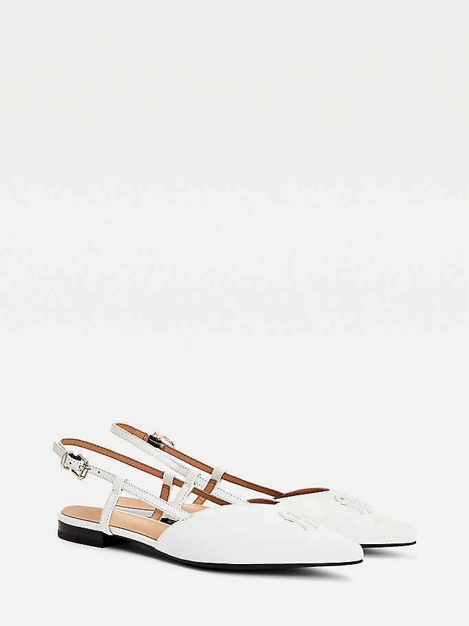 white leather strappy ballerina flats for women tommy hilfiger