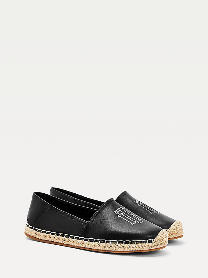 black leather monogram espadrilles for women tommy hilfiger