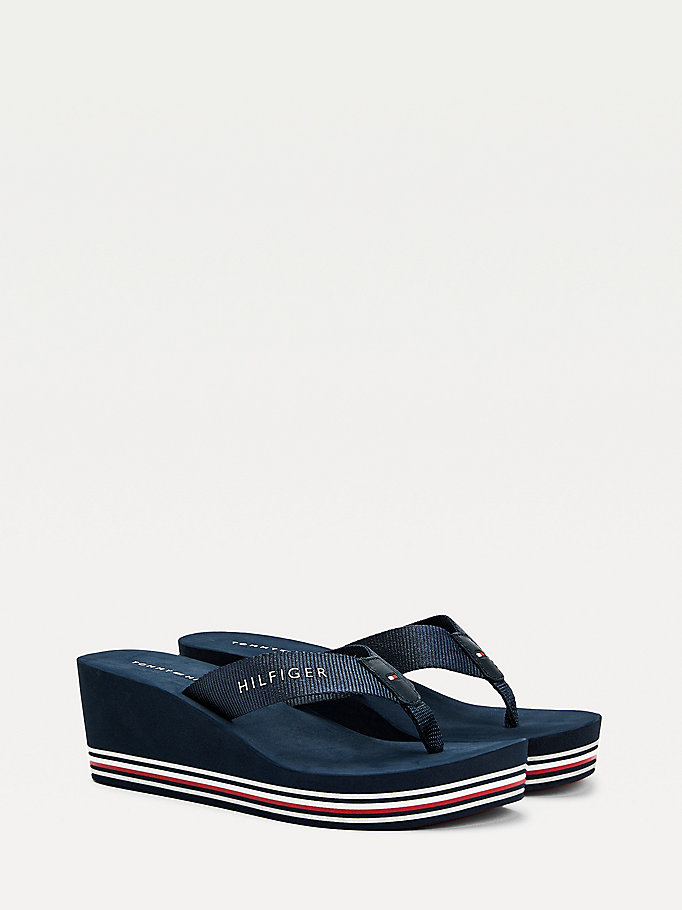 blue wedge flip-flops for women tommy hilfiger