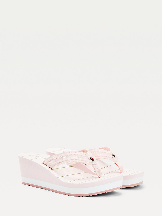 pink stripe footbed wedge flip-flops for women tommy hilfiger