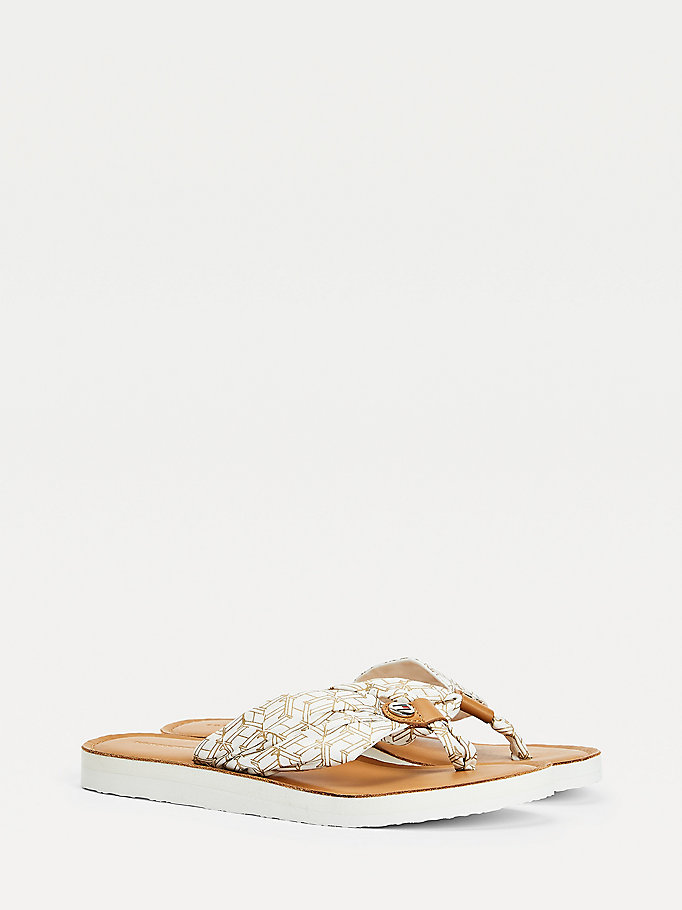 white leather footbed flip-flops for women tommy hilfiger