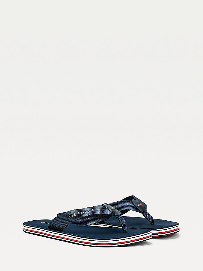 blue signature sole flip-flops for women tommy hilfiger