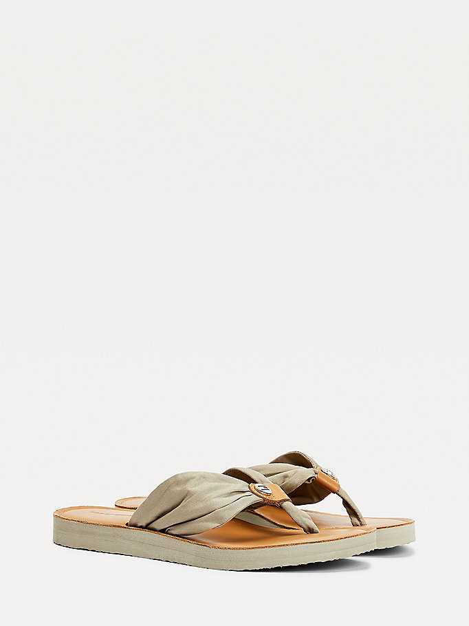 beige ruched leather footbed flip-flops for women tommy hilfiger