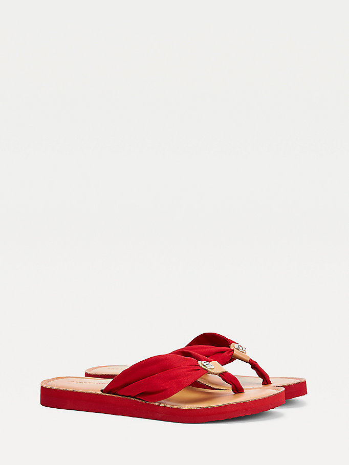 red ruched leather footbed flip-flops for women tommy hilfiger