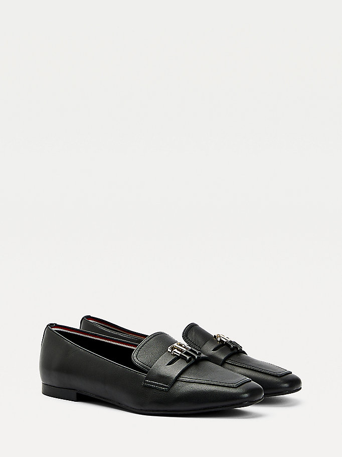 black essential leather loafers for women tommy hilfiger