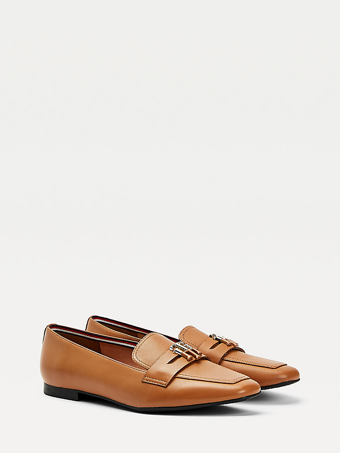 brown essential leather loafers for women tommy hilfiger