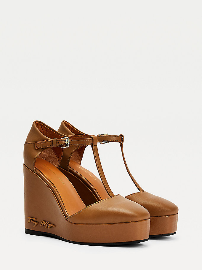 brown signature leather high wedges for women tommy hilfiger
