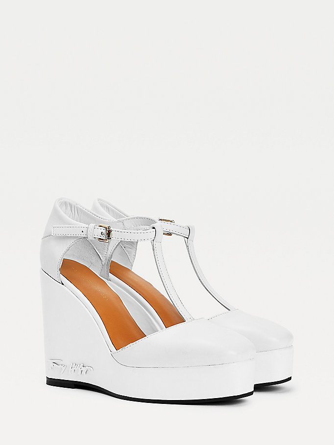 white signature leather high wedges for women tommy hilfiger