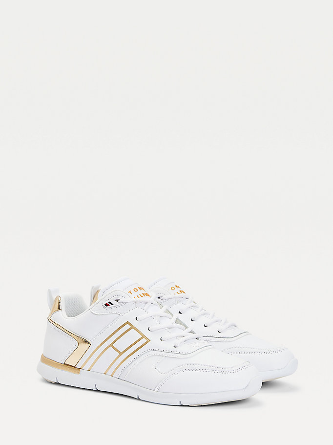 yellow metallic lightweight trainers for women tommy hilfiger