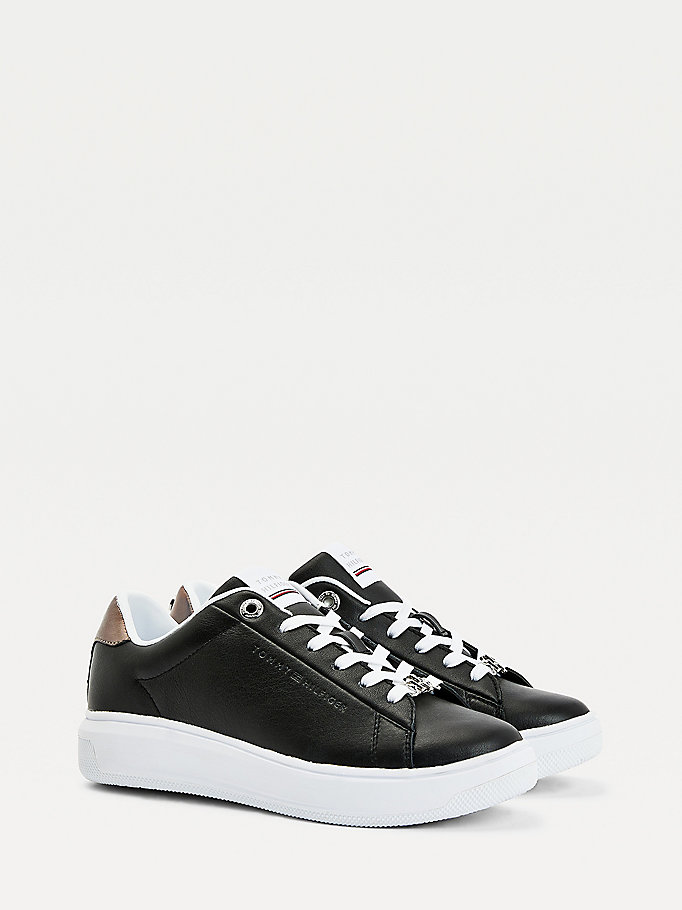 black metallic leather cupsole trainers for women tommy hilfiger