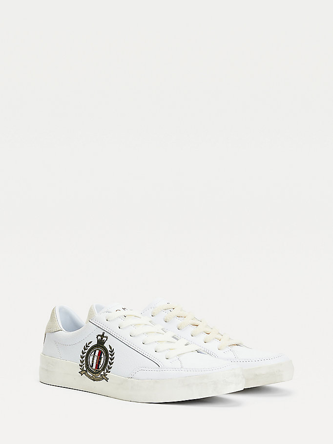 white crest print leather trainers for women tommy hilfiger
