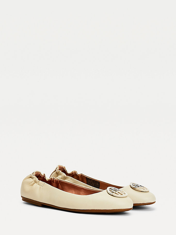 beige monogram leather ballerina flats for women tommy hilfiger