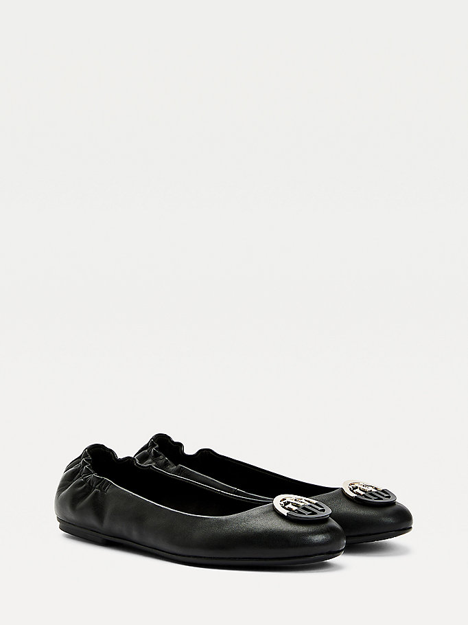 black monogram leather ballerina flats for women tommy hilfiger