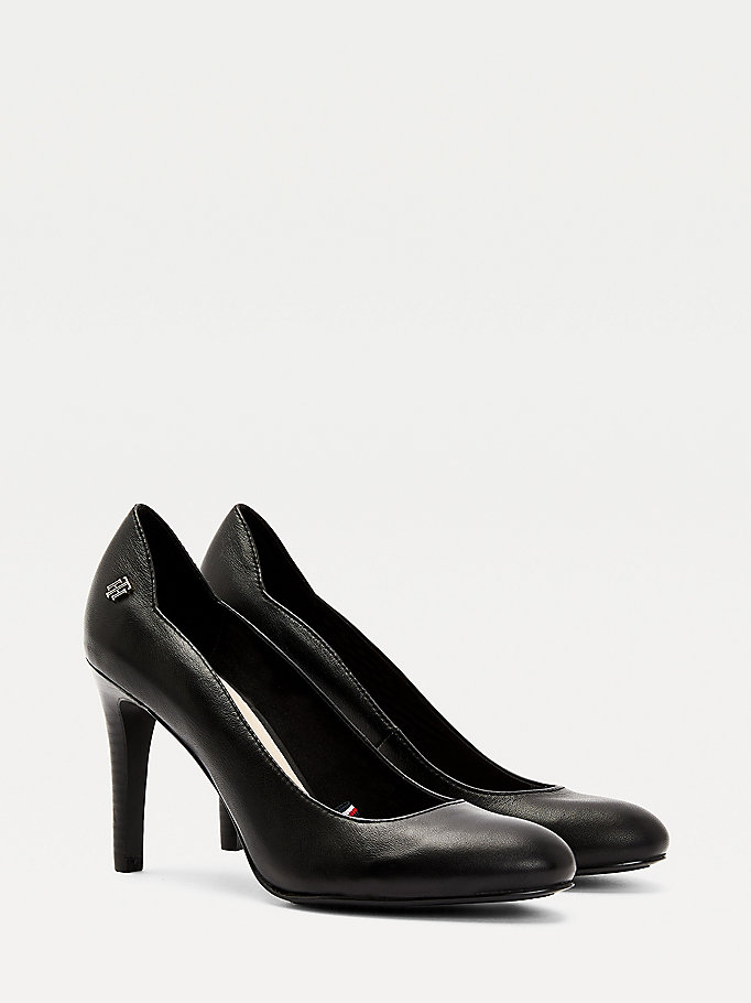 black essential leather pumps for women tommy hilfiger