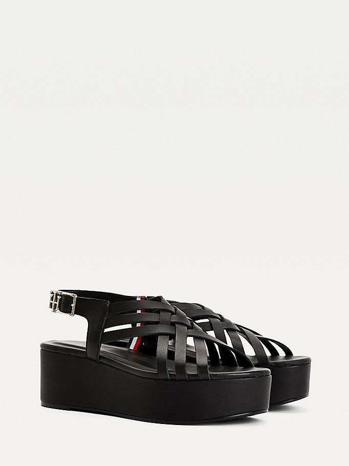 black leather flatform sandals for women tommy hilfiger