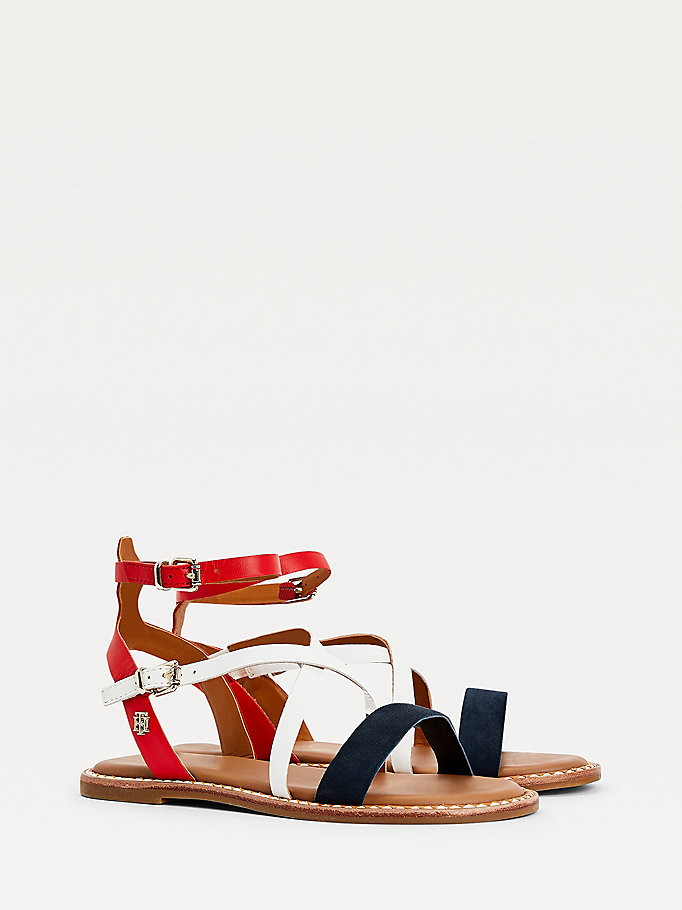 blue essential leather strappy sandals for women tommy hilfiger