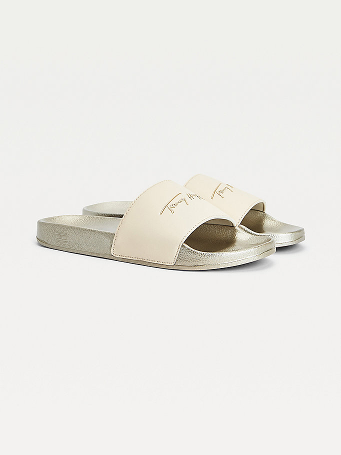 grey signature metallic pool slides for women tommy hilfiger