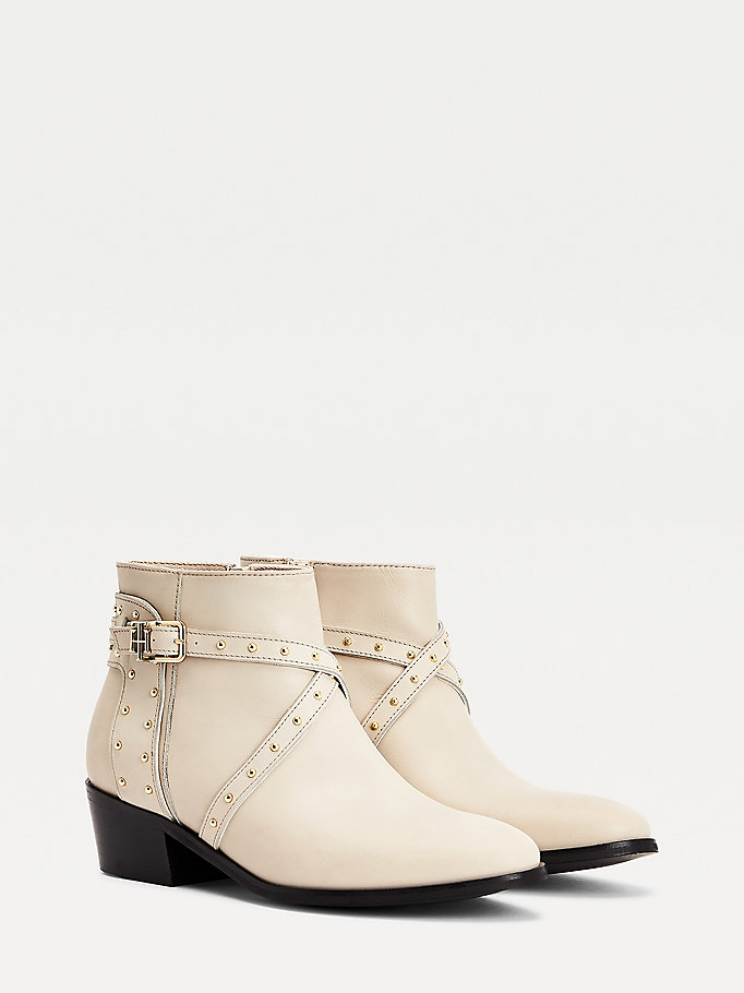 beige studded leather ankle boots for women tommy hilfiger