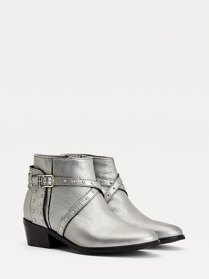 grey metallic studded leather ankle boots for women tommy hilfiger
