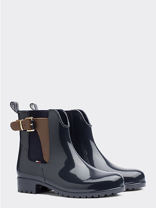 TOMMY HILFIGER Buckled Ankle Wellies - MIDNIGHT-WINTER COGNAC - TOMMY HILFIGER Wellies - main image