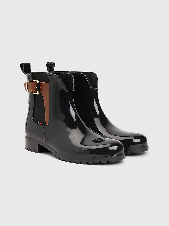 black buckled ankle wellies for women tommy hilfiger