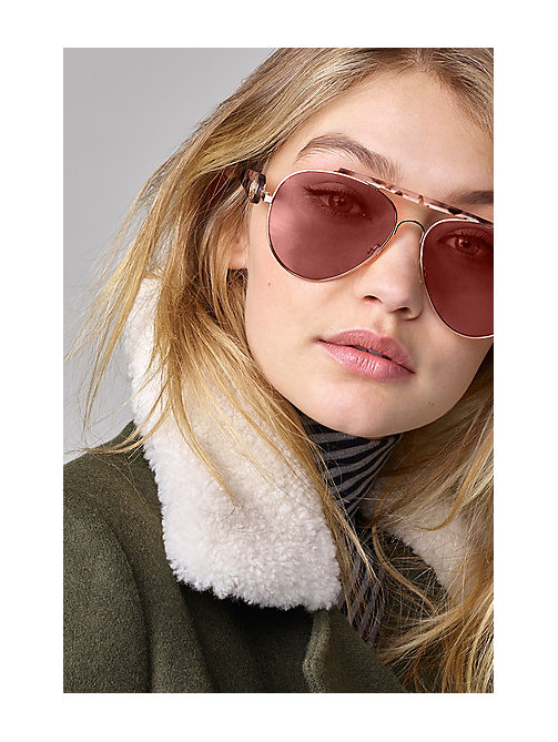 TOMMY HILFIGER Aviator Sunglasses GiGi Hadid - P80 GOLD HAVANA PINK - TOMMY HILFIGER Bags & Accessories - main image