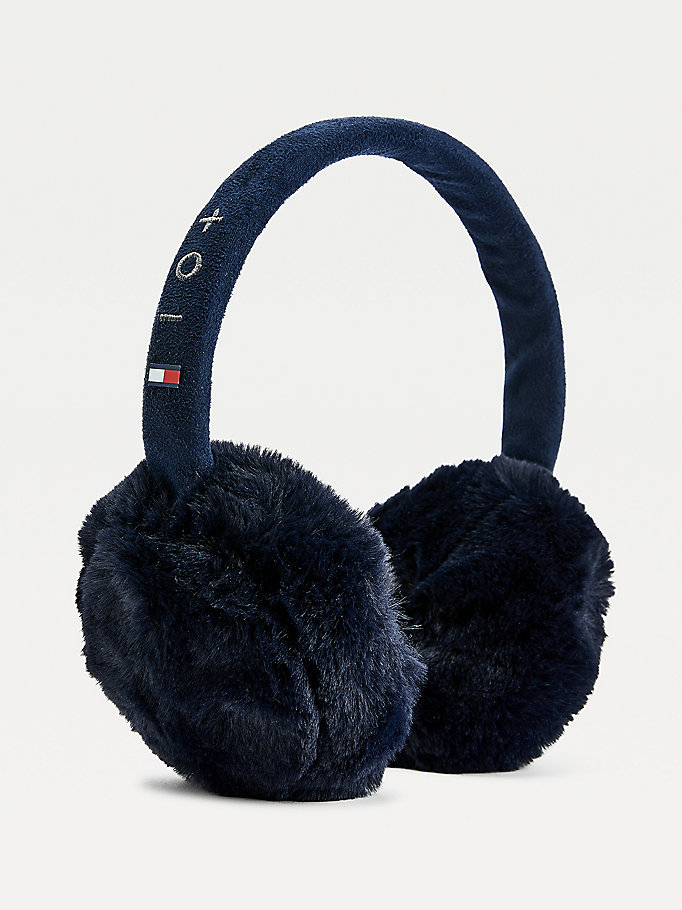 blue bluetooth ear muff headphones for unisex tommy hilfiger