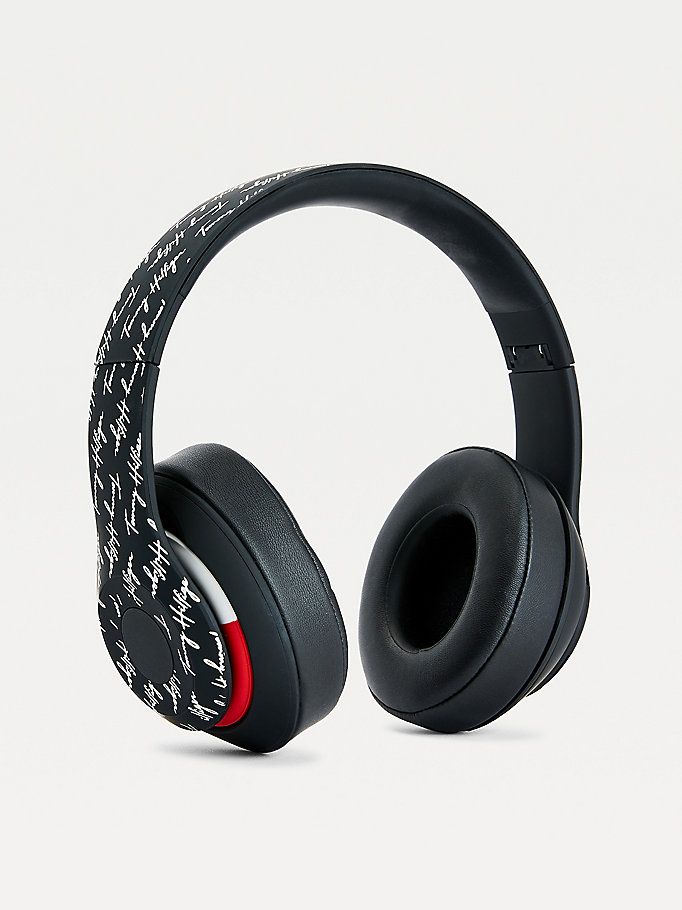 black signature logo wireless headphones for unisex tommy hilfiger