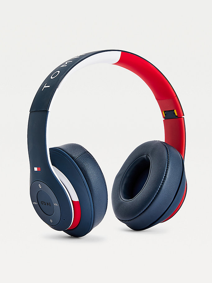 blue colour-blocked wireless headphones for unisex tommy hilfiger
