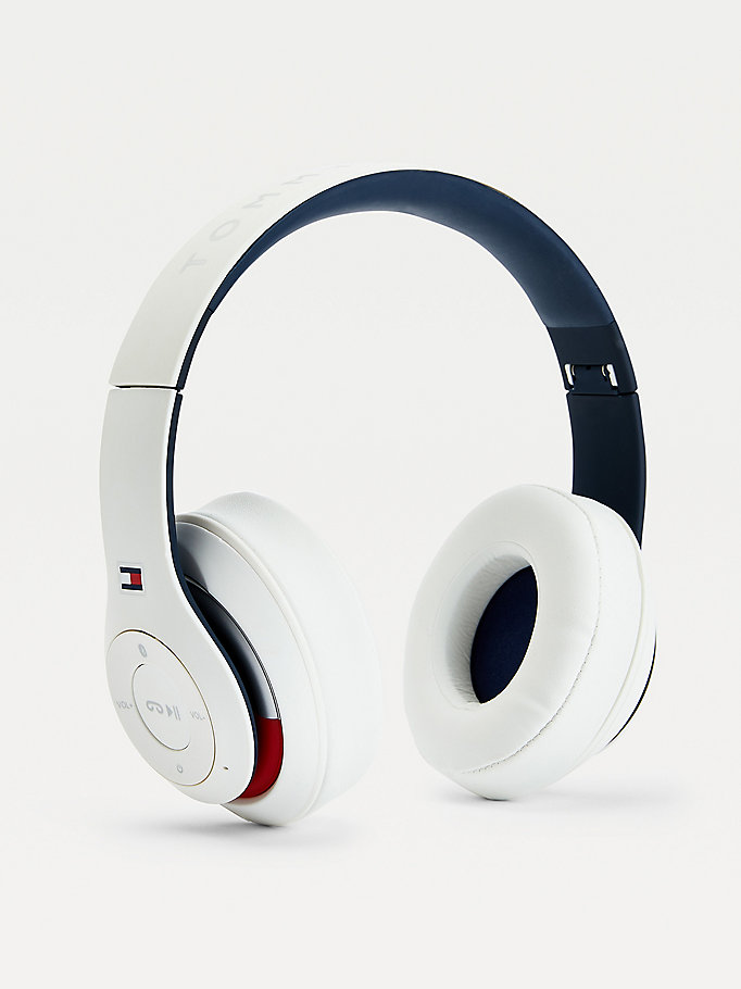 white logo wireless headphones for unisex tommy hilfiger