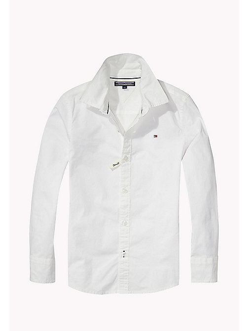 TOMMY HILFIGER Stretch Poplin Shirt - CLASSIC WHITE - TOMMY HILFIGER Tops - main image