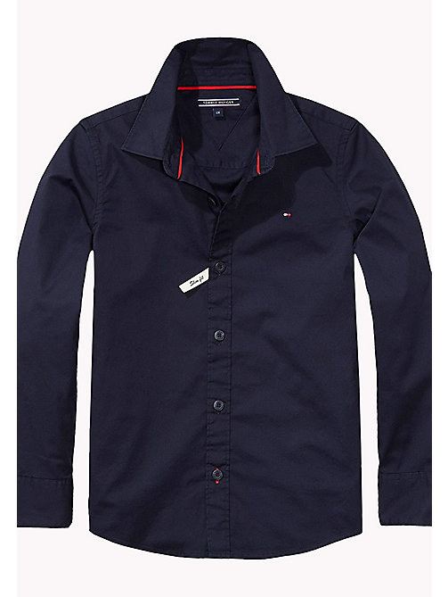 TOMMY HILFIGER Slim Fit Stretch Cotton Shirt - MIDNIGHT - TOMMY HILFIGER Shirts - main image