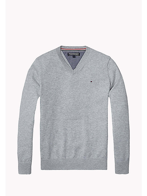 TOMMY HILFIGER Essential V-Neck Jumper - GREY HEATHER - TOMMY HILFIGER Jumpers & Cardigans - main image