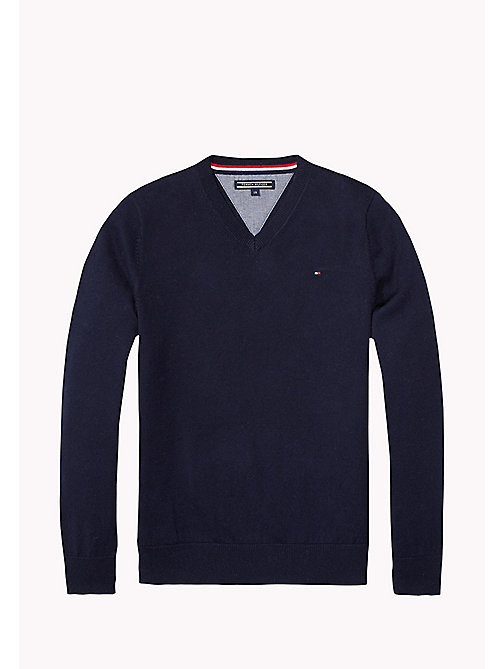 TOMMY HILFIGER Essential V-Neck Jumper - MIDNIGHT - TOMMY HILFIGER Boys - main image