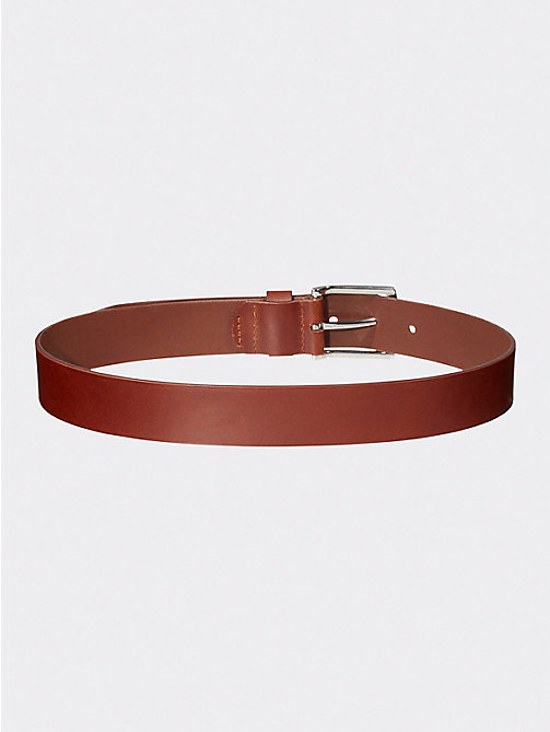 TOMMY HILFIGER Denton Slim Leather Belt - DARK TAN - TOMMY HILFIGER Shoes & Accessories - detail image 1