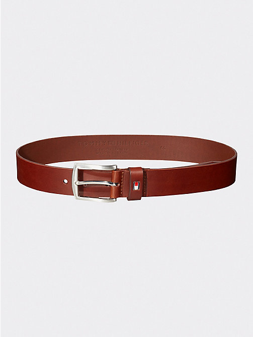 TOMMY HILFIGER Denton Slim Leather Belt - DARK TAN - TOMMY HILFIGER Shoes & Accessories - main image