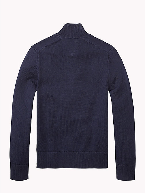 TOMMY HILFIGER Zip Thru Cotton Cardigan - MIDNIGHT - TOMMY HILFIGER Knitwear - detail image 1
