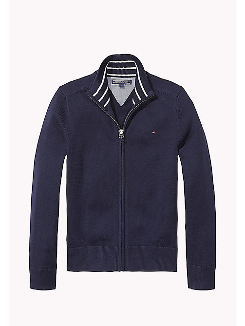 TOMMY HILFIGER Zip Thru Cotton Cardigan - MIDNIGHT - TOMMY HILFIGER Knitwear - main image