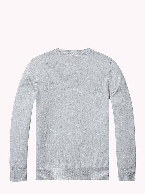 TOMMY HILFIGER Crew Neck Cotton Jumper - GREY HEATHER - TOMMY HILFIGER Knitwear - detail image 1