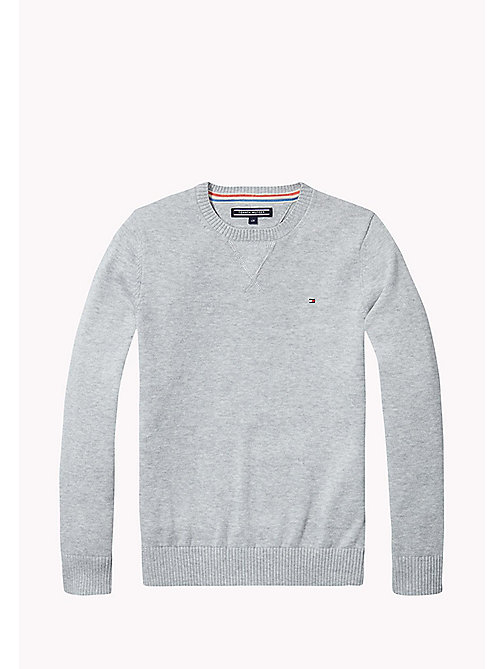 TOMMY HILFIGER Crew Neck Cotton Jumper - GREY HEATHER - TOMMY HILFIGER Knitwear - main image